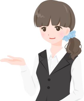 OL wearing a black vest 【mayu】 bu