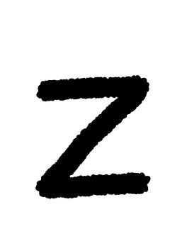 Handwritten alphabet Z crayon style