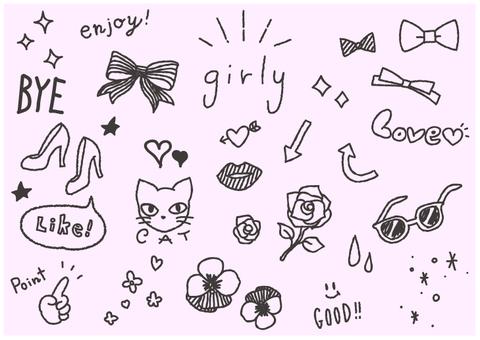 Girly handwritten material