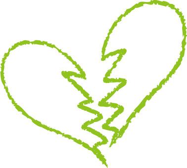 Heart (broken heart · yellow green)