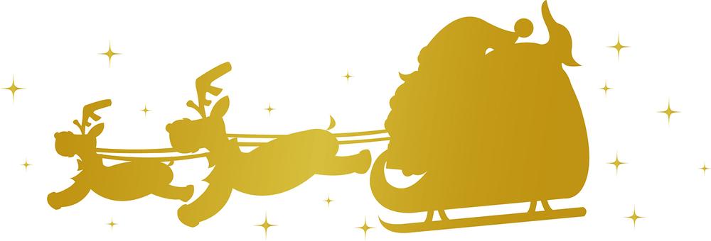圣诞老人和驯鹿金剪影