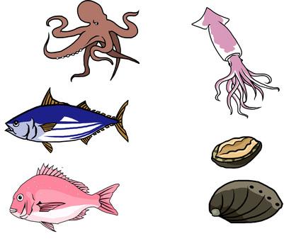 Assorted fish