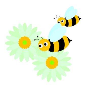 Bee gathering in flowers