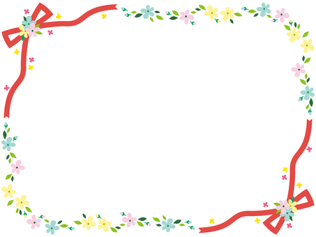 Flower and ribbon frame <Colorful>