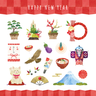 New Year Illustration Set Watercolor Wind