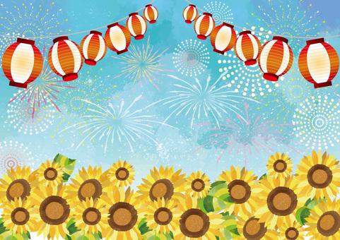 夏祭りと向日葵