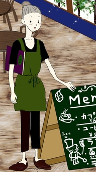 Cafe signboard and female cafe clerk
