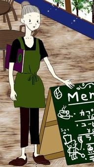 카페 간판과 여성 카페 점원