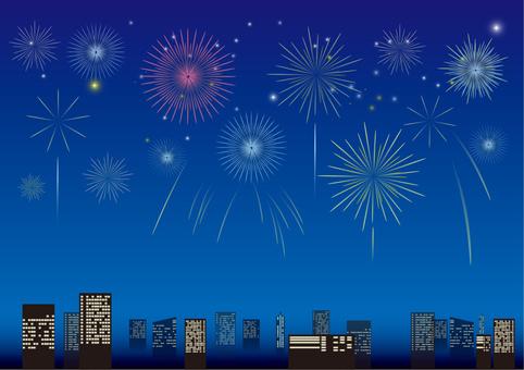 Skyscraper and fireworks 3
