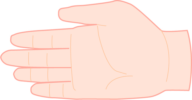 Palm extension of the right hand