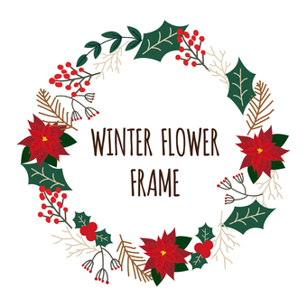 Winter floral frame Handwritten illustration material