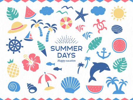 夏季和熱帶的簡單插圖集