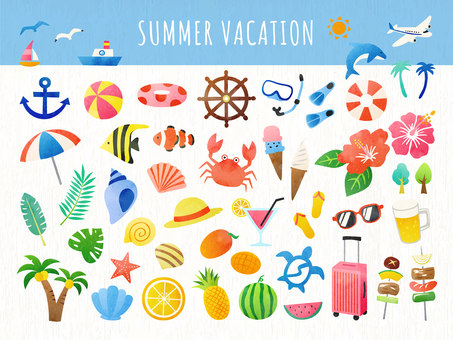 Summer and sea watercolor illustration set