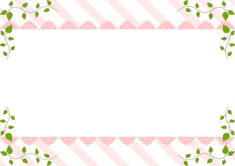 Leaves lace frame stripe background