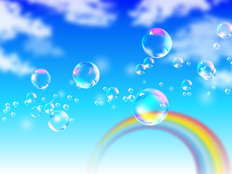 Bubbles floating in blue sky and rainbow 02
