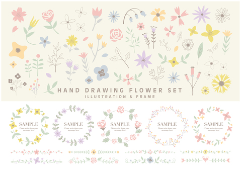 Clip of Handwritten Flower SET