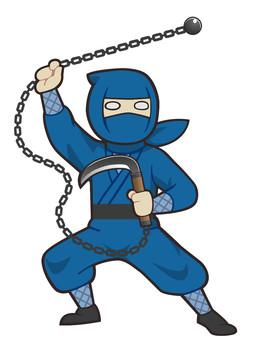 鎖鎌を構える忍者