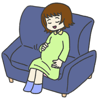 Pregnant woman talking to hungry baby