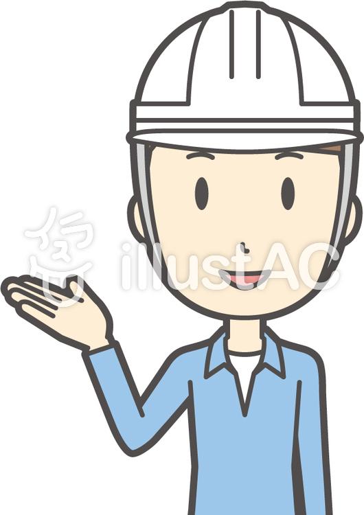 ブルー襟シャツ男性-118-バストのイラスト