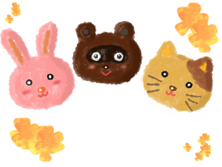 浣熊,貓和兔子