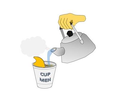 Pour hot water into cup noodles