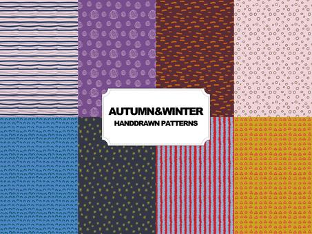 秋冬手描きパターン素材セット