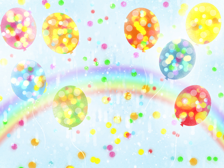 Balloons, sparkling in the rainbow