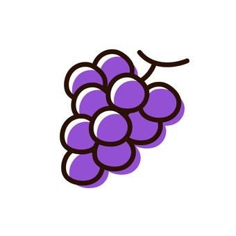 Hand-drawn style yurukawa fruit grape