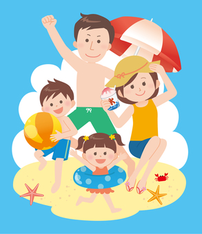 Family (sea bathing) with background 1