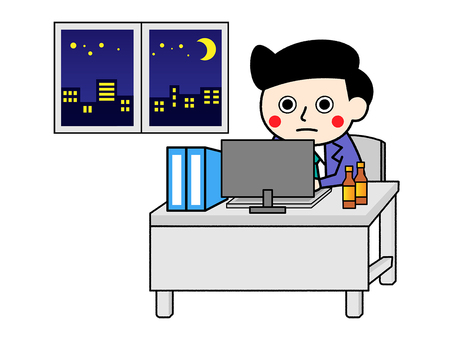 A salaryman who works hard on overtime till late night