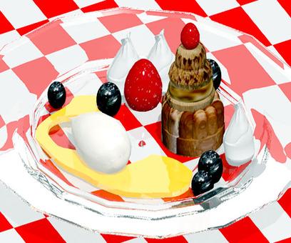 3DCG dessert (chocolate cake)