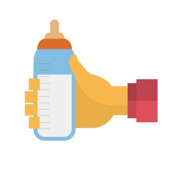 Hand holding a baby bottle