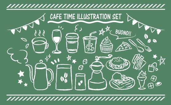 カフェ 黒板 手描きセット