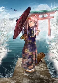 Kimono Bishoujo illustration