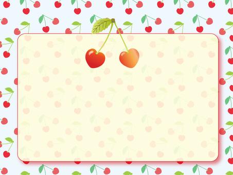 Cherry frame ~ light blue background ~