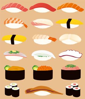 Various sushi items