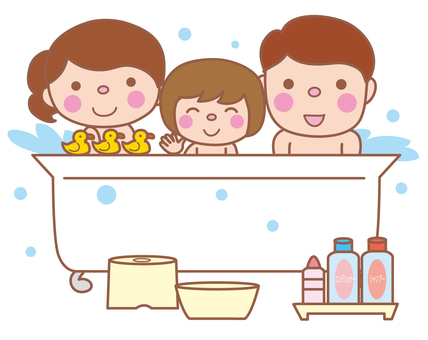 Bathing with parents and children (bathing scene)