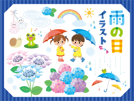 Rainy day illustration set 01