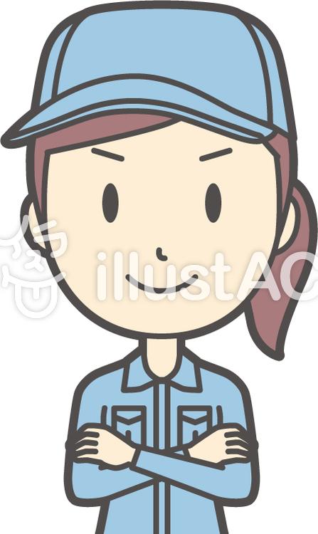 作業員女性ブルー-359-バストのイラスト