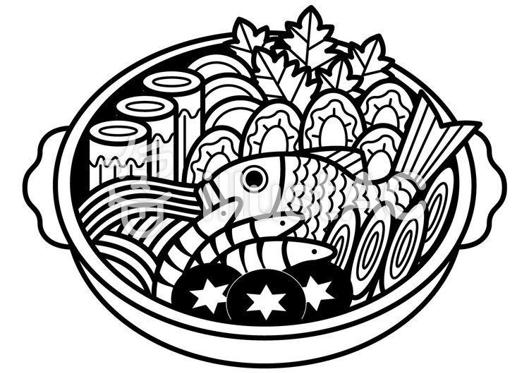 海鮮寄せ鍋1cのイラスト