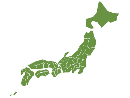 Japanese map Handwritten style by prefecture 1