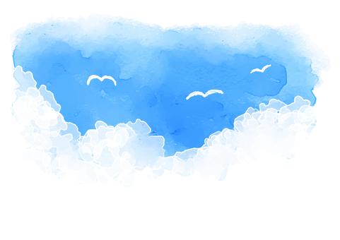 Watercolor Summer Sky Seagull