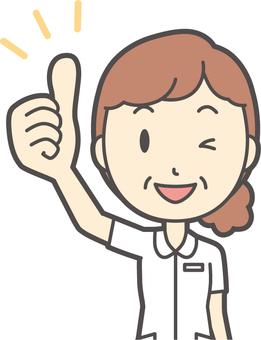 Middle-aged woman nurse white coat-048-bust