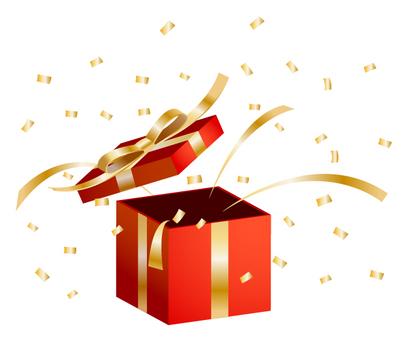 Present box · confetti snow (red · gold
