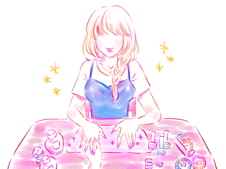 Illustration of a woman having a nail art