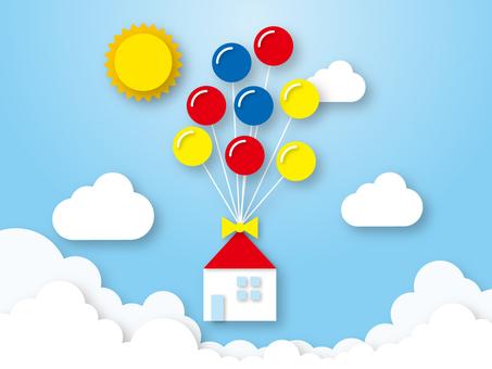 風船で空飛ぶ家-夏の太陽と青空と入道雲