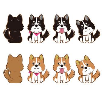 Dog illustration assortment set