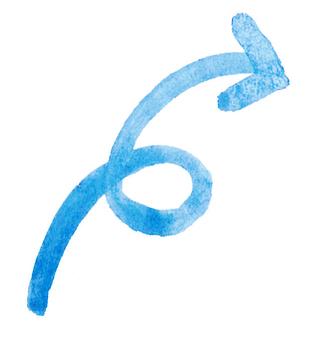 Watercolor blue arrow