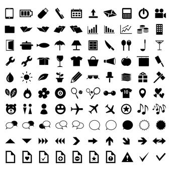 Icon set of smartphone, calculator, graph, etc.