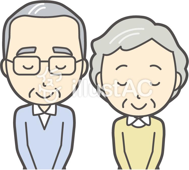 男女セット老人-003-バストのイラスト